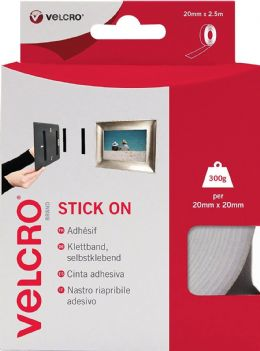 White VELCRO Brand Stick On Super Strong Adhesive Tape - 20mm x 2.5m